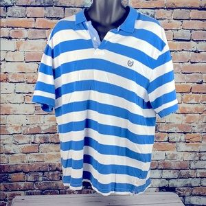 Chaps blue & white stripe short sleeve polo sz 2XL